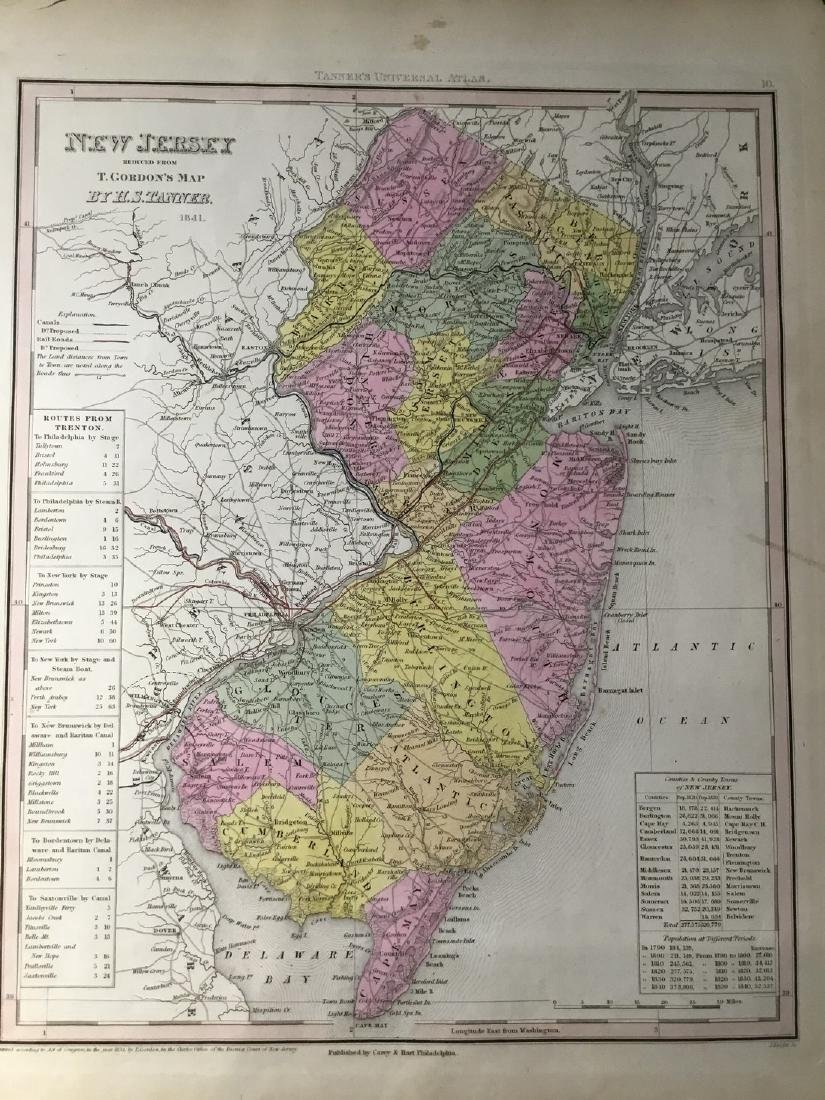 Tanner: Antique Map of New Jersey, 1843