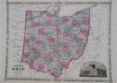 Johnson: Antique Map of Ohio, 1864