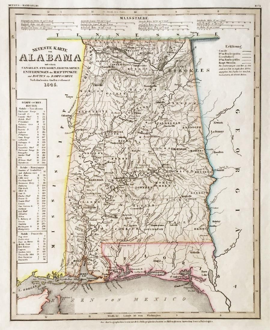 Meyer: Antique Map of Alabama, 1845