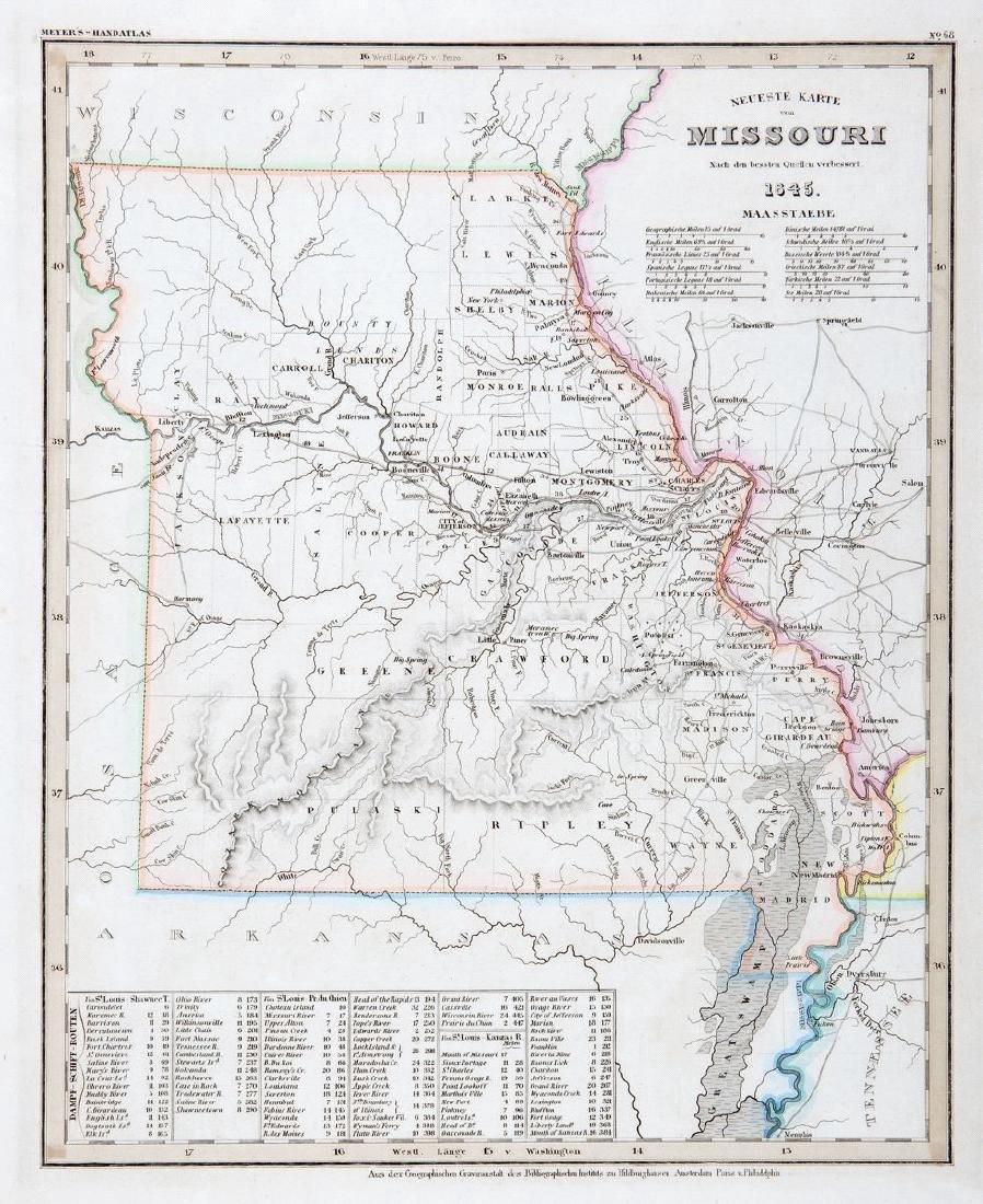 Meyer: Antique Map of Missouri, 1845