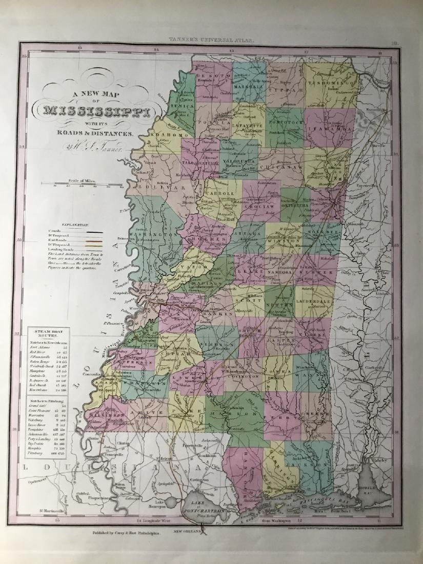 Tanner: Antique Map of Mississippi, 1843