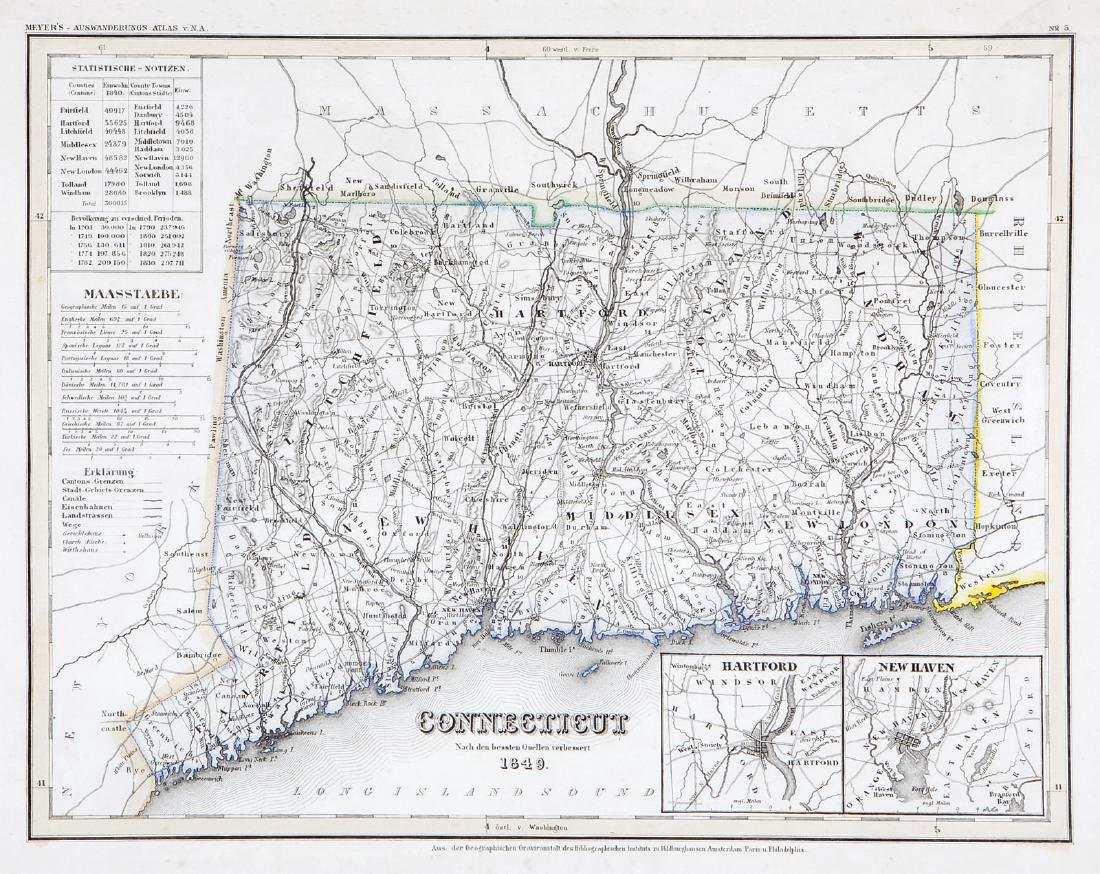 Meyer: Map of Connecticut/Hartford, New Haven insets