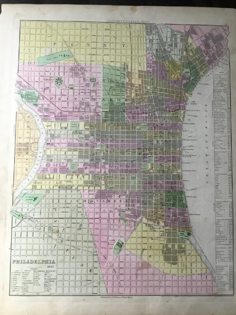 Tanner: Antique Map of Philadelphia, 1843