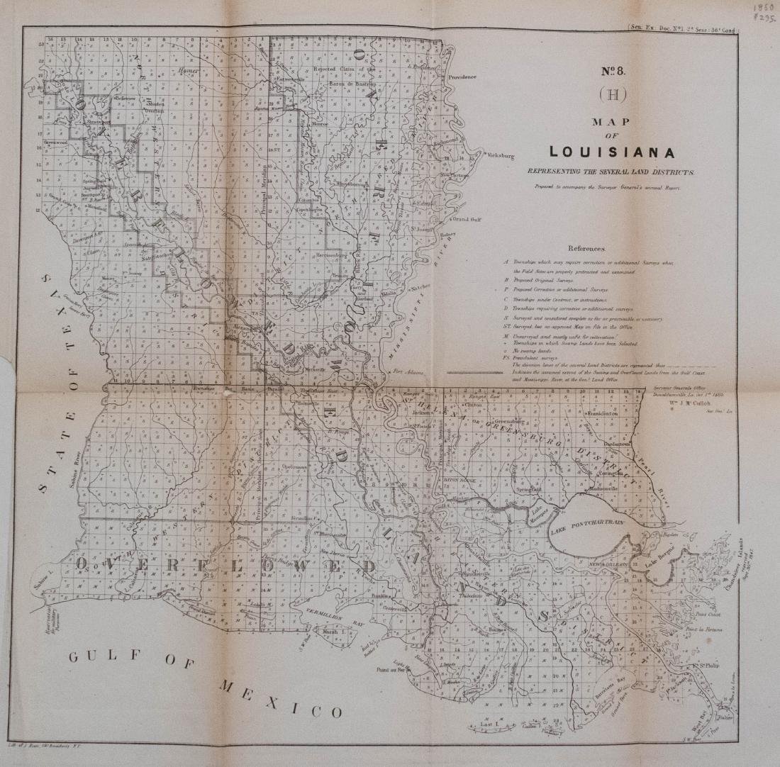 Antique Surveyor's Map of Louisiana, 1860