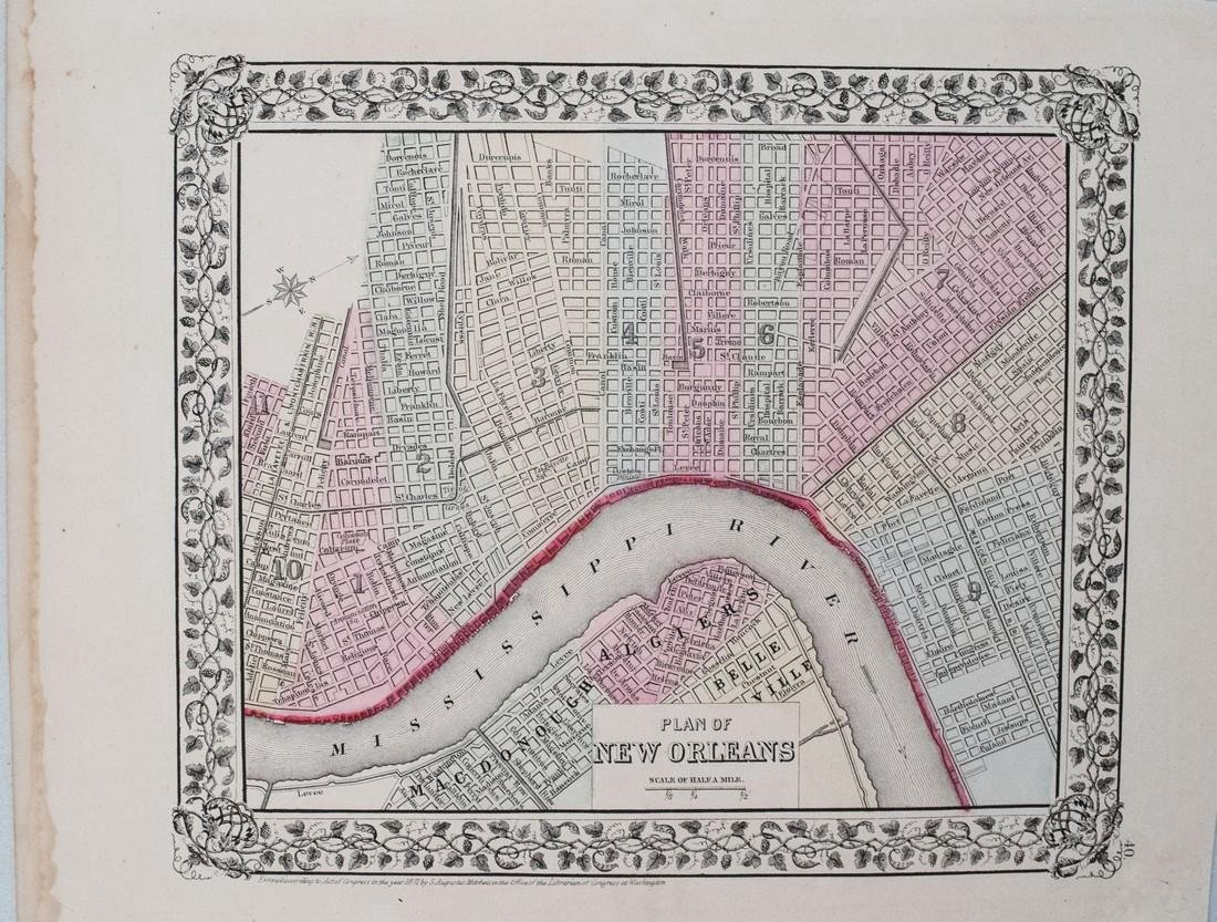 Mitchell: Antique Map of New Orleans, 1871