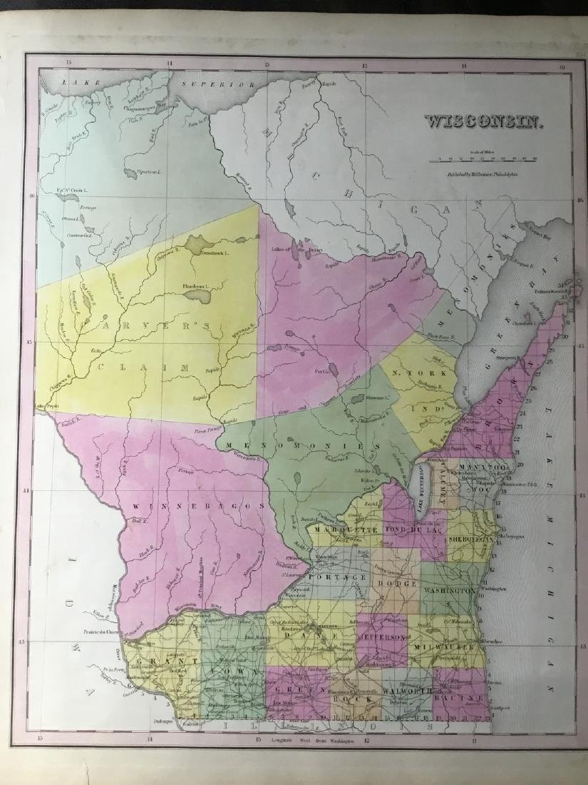 Tanner: Antique Map of Wisconsin, 1843