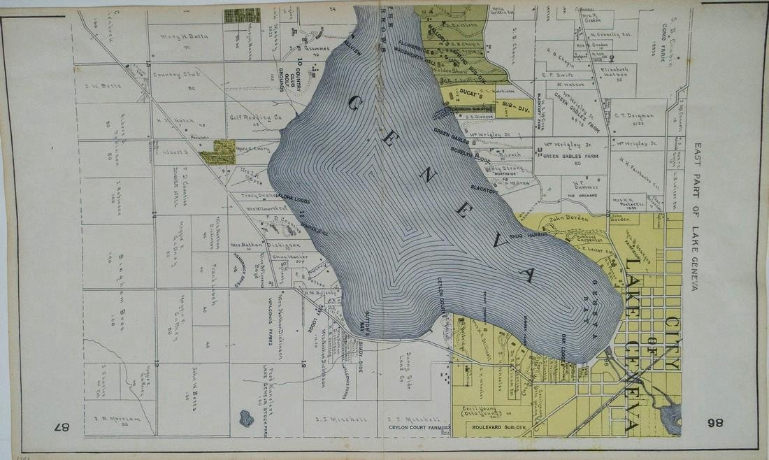 Middle & Eastern Part of the Plan of Lake Geneva, 1921