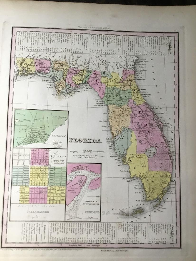Tanner: Antique Map of Florida, 1843