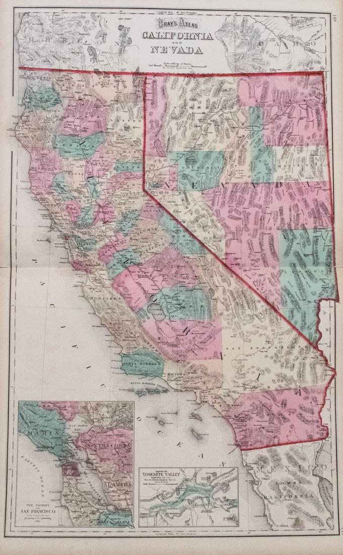 Gray: Antique Map of California and Nevada, 1875