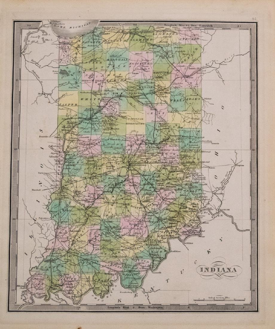Greenleaf: Antique Map of Indiana, 1842
