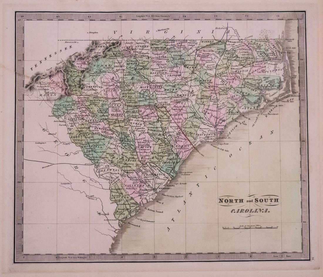 Greenleaf: Antique Map of North and South Carolina 1842