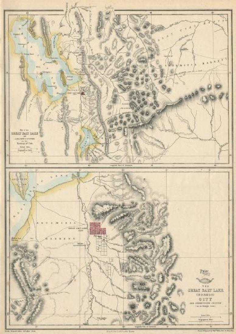 Weller: Antique Map of Salt Lake (Mormon) City, 1863