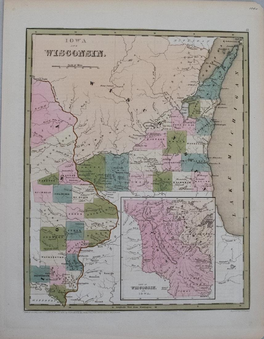 Bradford: Antique Map of Iowa and Wisconsin, 1838