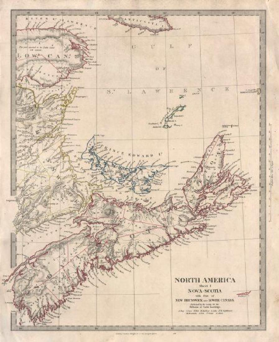 SDUK: Antique Map of Nova Scotia, Canada, 1846