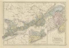 Hall: Antique Map of Canada, New Brunswick &c. 1856
