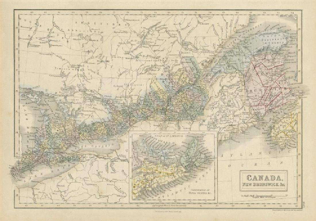 Hall: Antique Map of Canada, New Brunswick &c. 1856