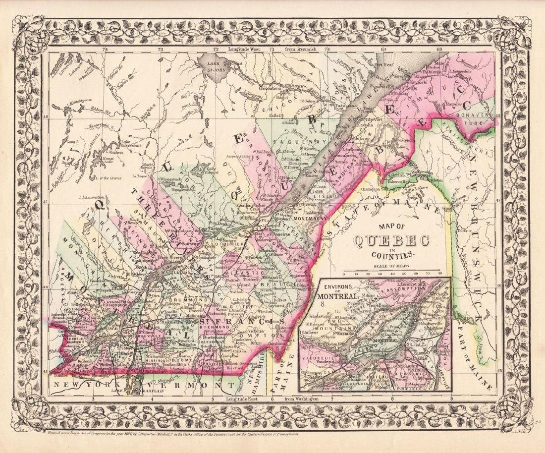 Mitchell: Antique County Map of Quebec/Montreal, 1870