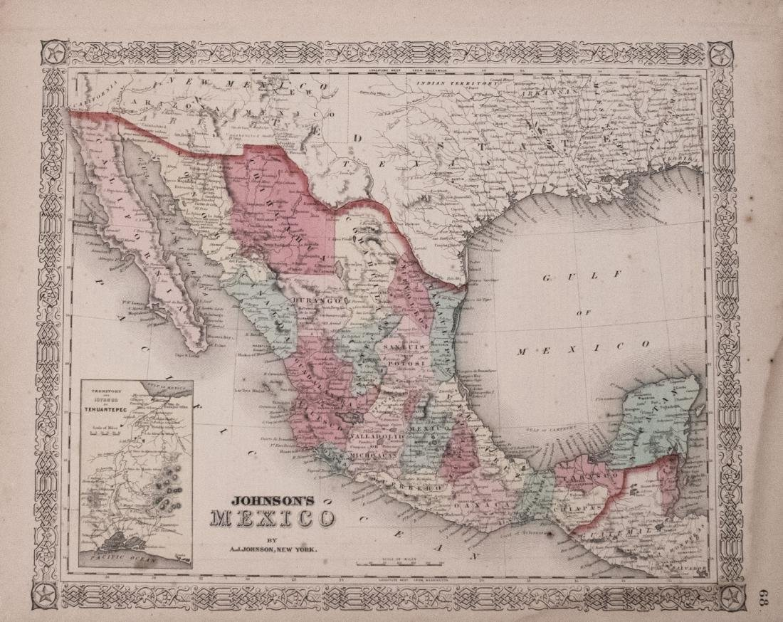 Johnson: Antique Map of Mexico, 1863