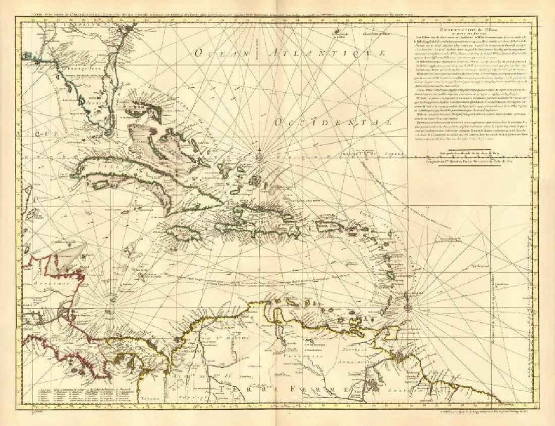 Buache: Antique Map of the Caribbean, 1740