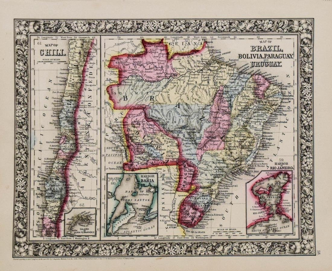 Mitchell: Antique Map of Brazil, Chile, Bolivia, 1860