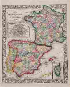 Mitchell: Antique Map of France, Spain, Portugal 1862
