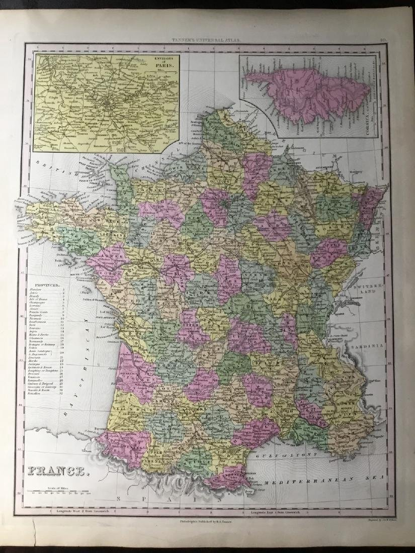 Tanner: Antique Map of France, 1843