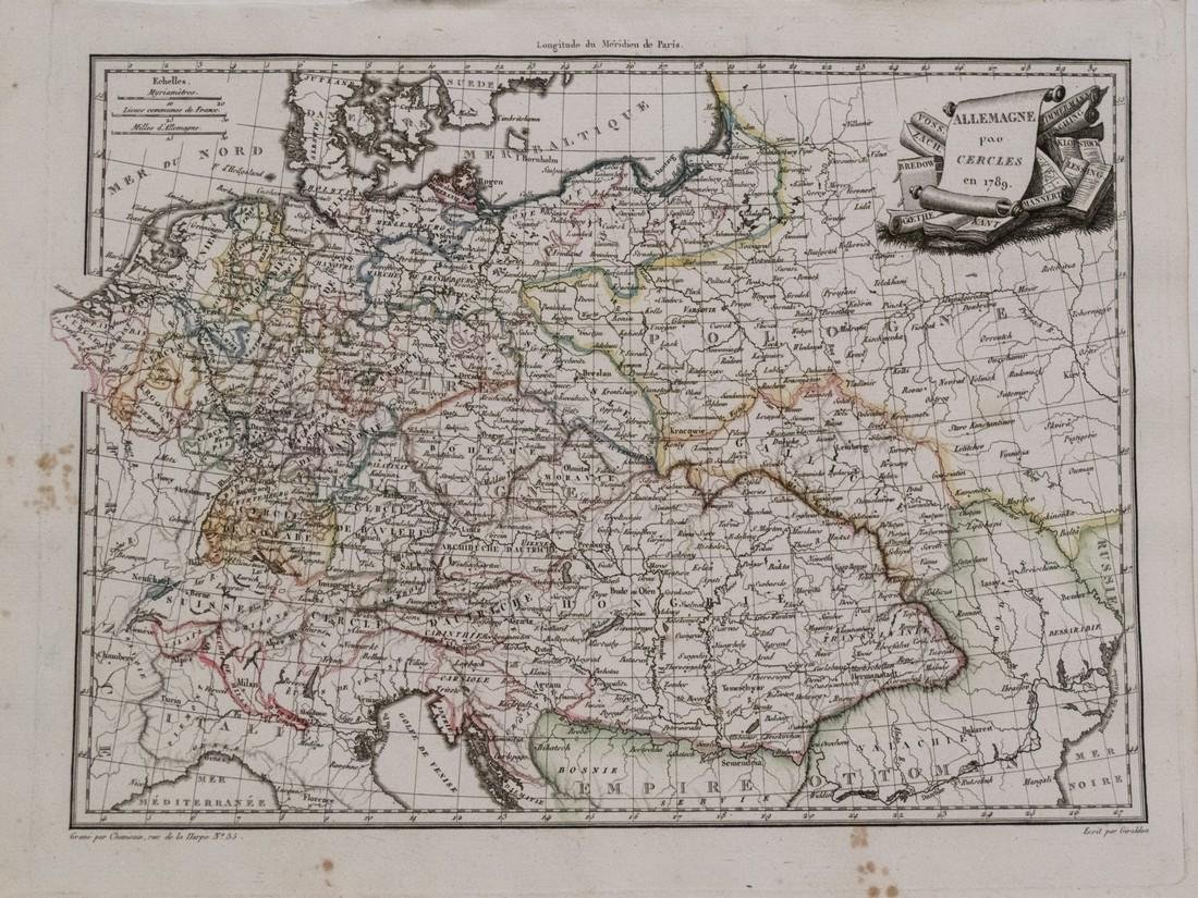 Malte-Brun: Antiuqe Map of Germany and Hungary, 1812