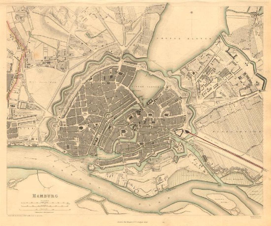 SDUK: Antique Map of Hamburg, Germany, 1847