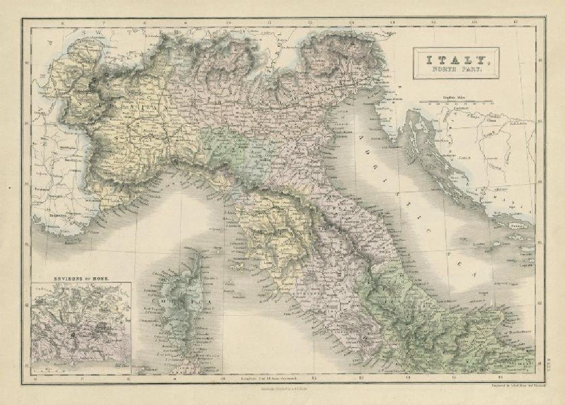 Hall: Antique Map of North Italy, 1856