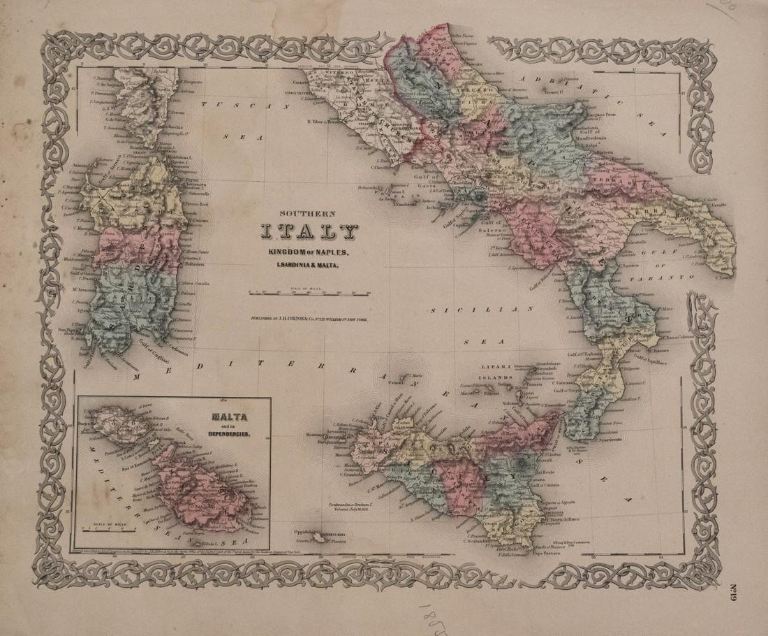 Colton: Antique Map of Southern Italy, 1855