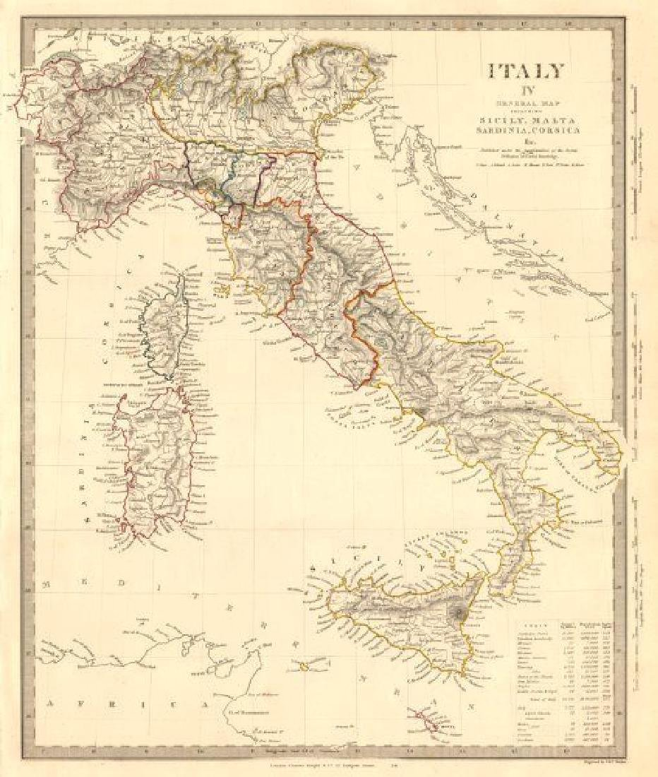 SDUK: Antique Map of Italy, 1845