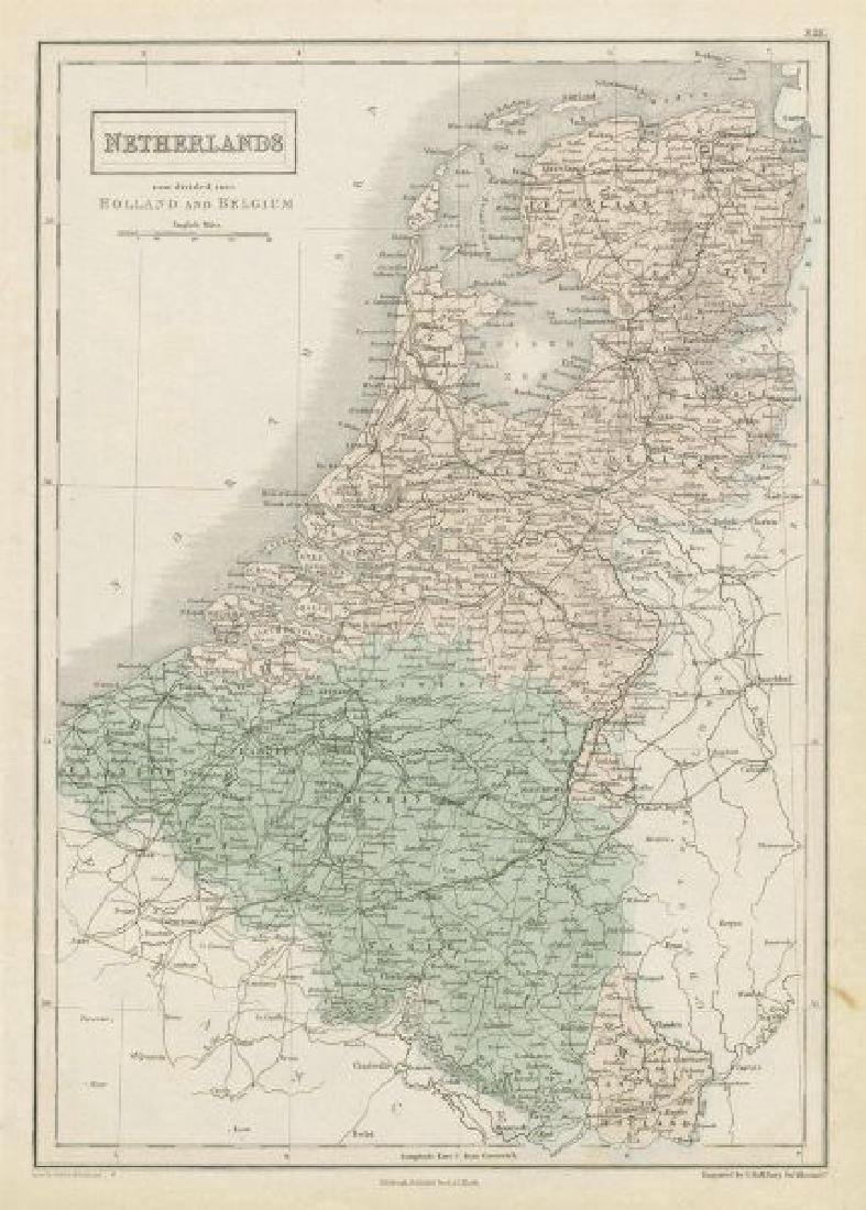 Hall: Antique Map of the Netherlands, 1856