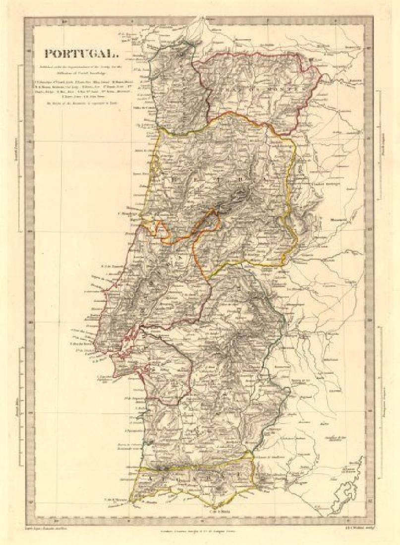 SDUK: Antique Map of Portugal, 1845