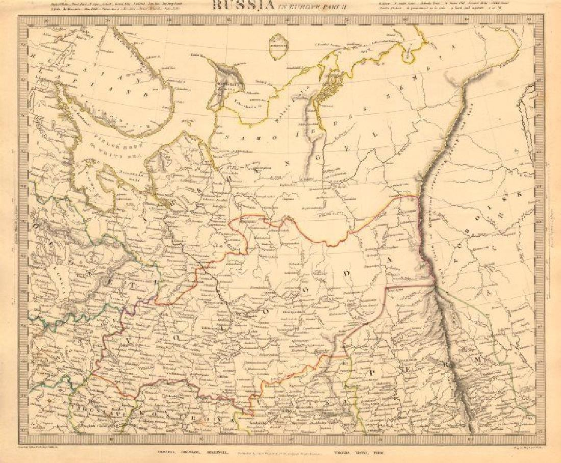 SDUK: Antique Map of Russia, 1845