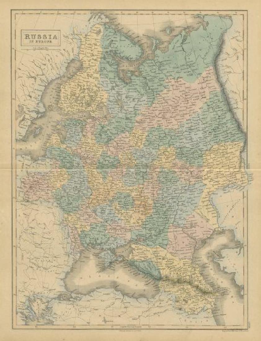 Hall: Antique Map of Russia in Europe, 1856