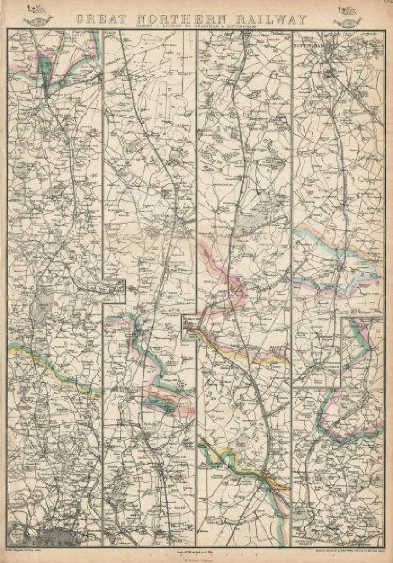 Weller: Antique Map of Great Northern Railway, 1863