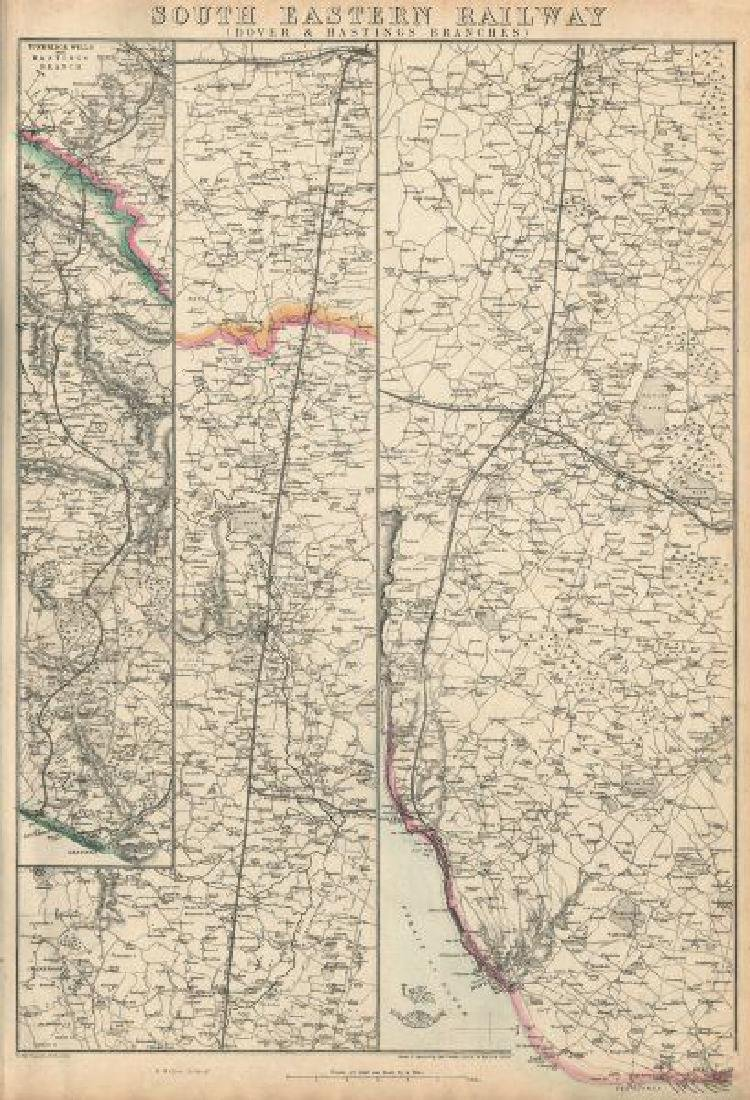 Weller: Antique Map of South Eastern Railway, 1863