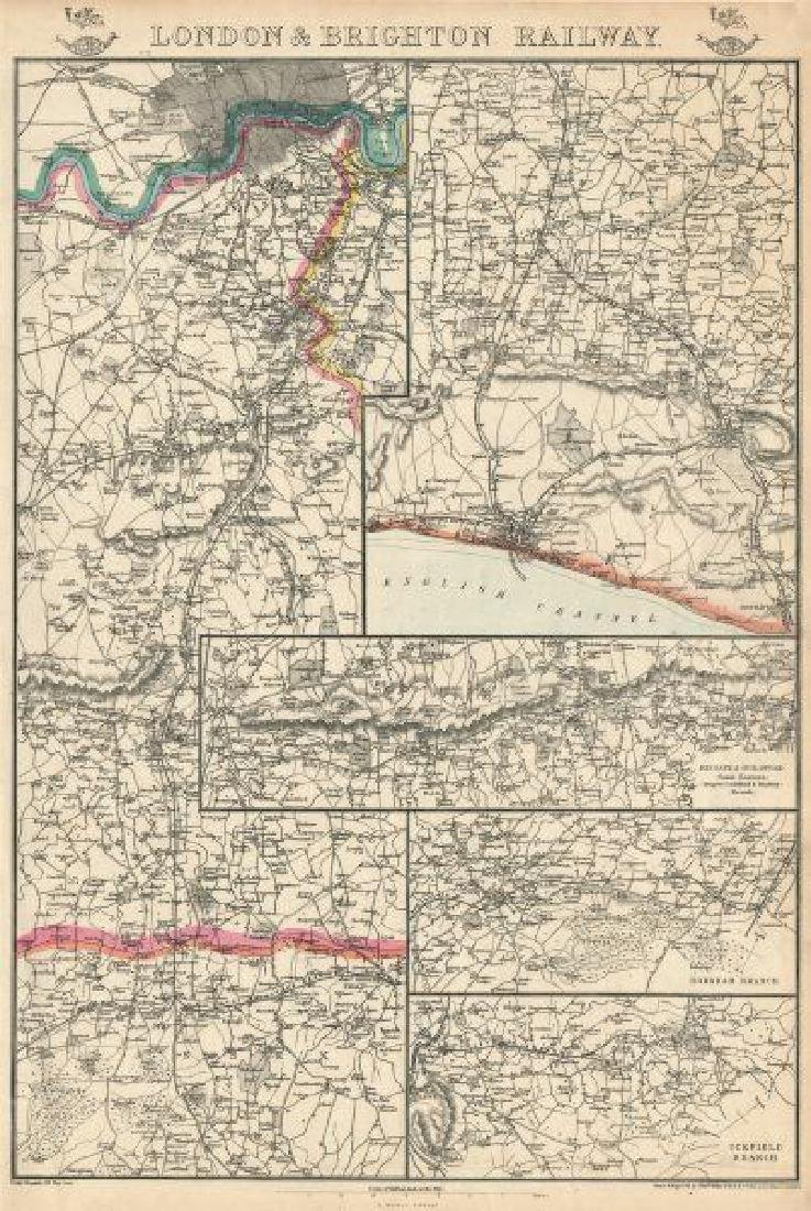 Weller: Antique Map of London & Brighton Railway, 1863