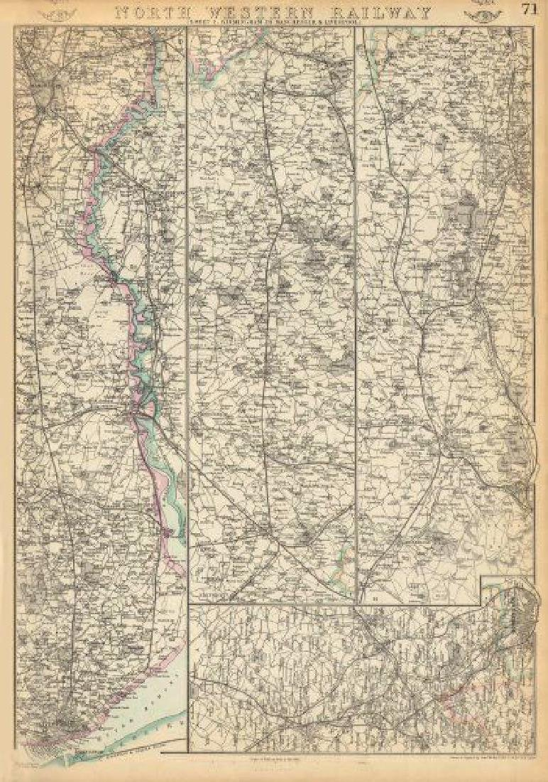 Weller: Antique Map of North Western Railway, 1863