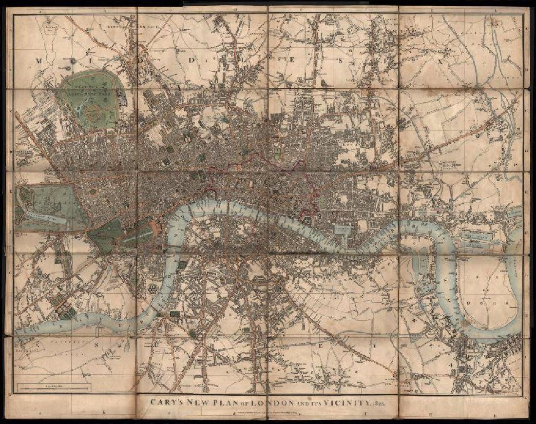 Cary: Antique Map, Plan of London & Vicinity, 1825