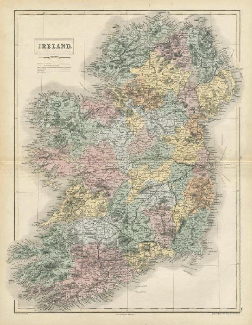 Hall: Antique Map of Ireland, 1856