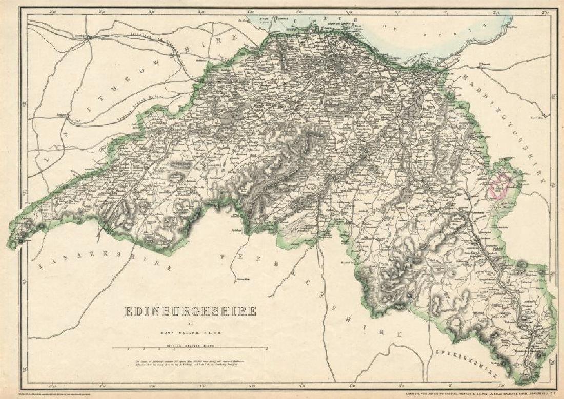 Weller: Antique Map of Edinburghshire, 1863