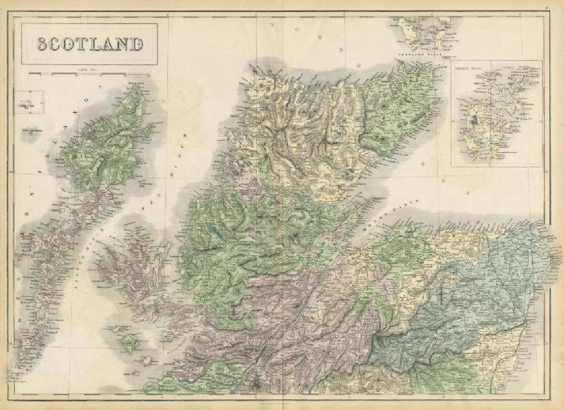Hall: Antique Map of North Scotland, 1856