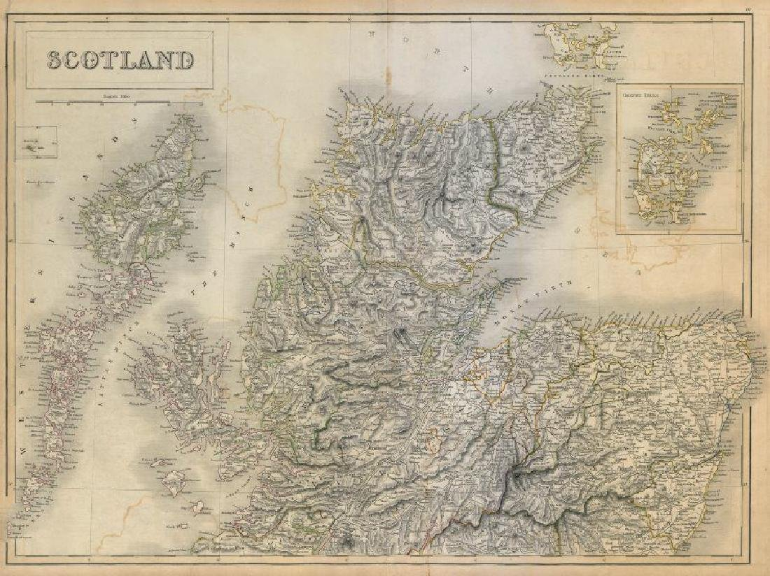 Hall: Antique Map of Scotland. North sheet. 1845