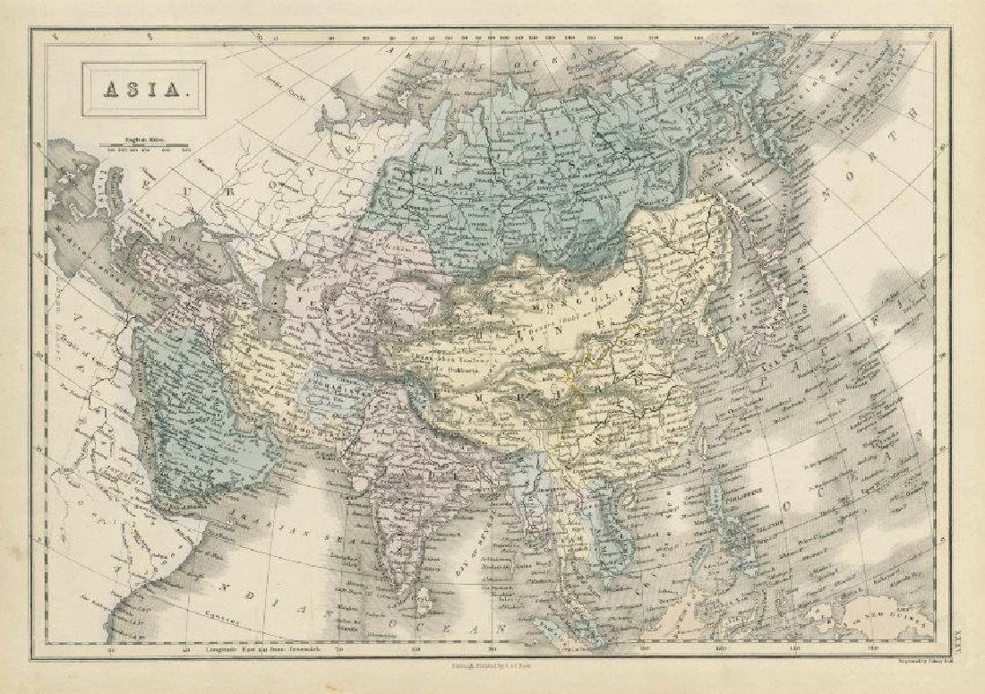 Hall: Antique Map of Asia, 1856