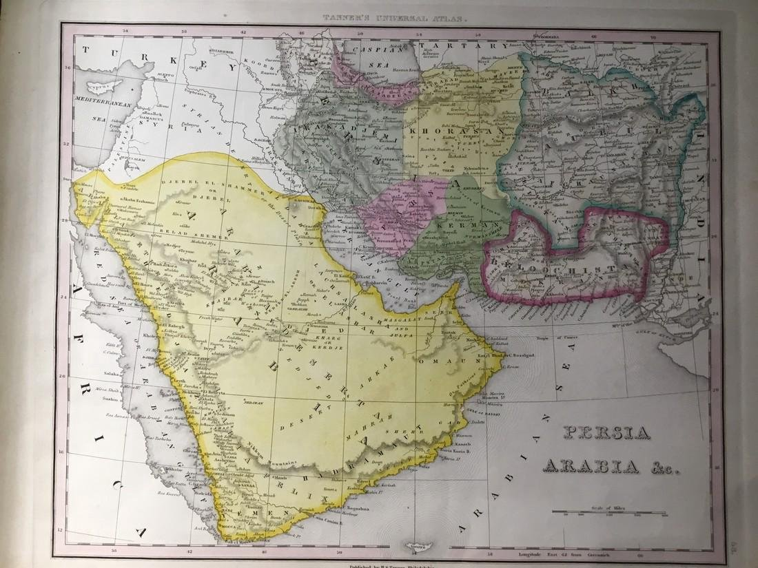 Tanner: Antique Map of Middle East, 1843
