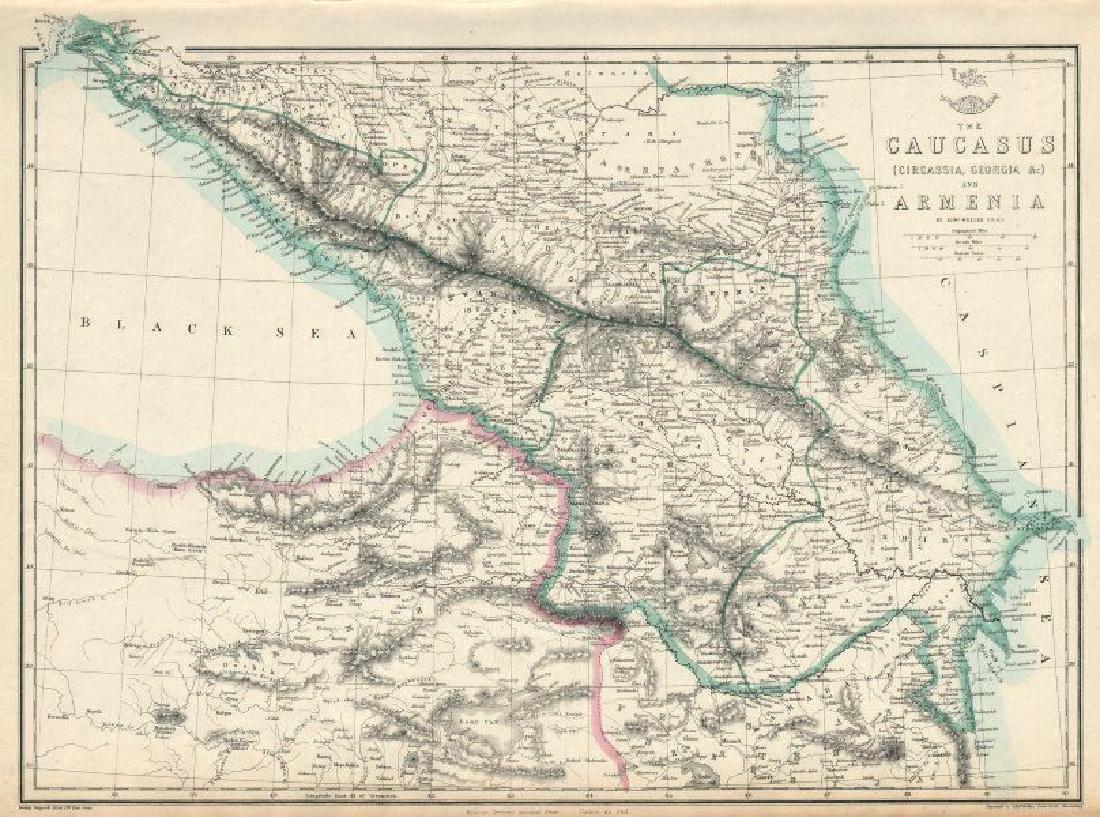 Weller: Antique Map of the Caucasus & Armenia, 1863