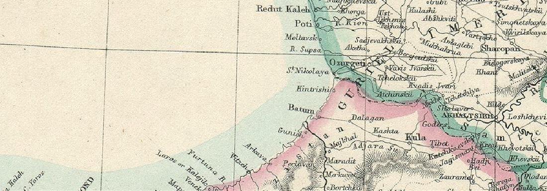 Weller: Antique Map of the Caucasus & Armenia, 1863 - 2