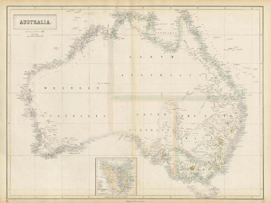 Hall: Antique Map of Gold Rush Australia, 1856