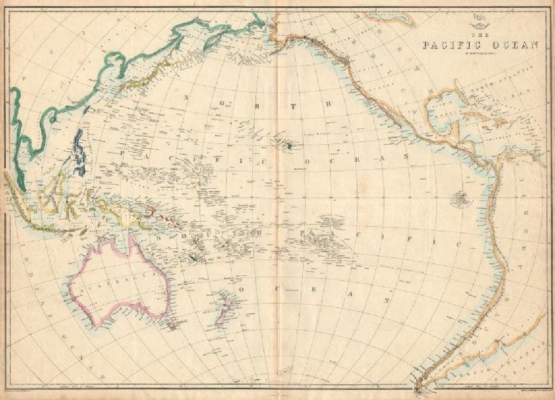 Weller: Antique Map of Pacific Ocean, 1863
